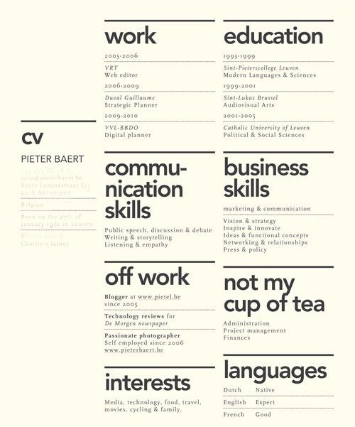 curriculum vitae pohja